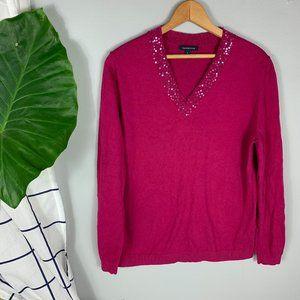 Lands' End Sequin V-Neck Sweater Berry Pink Size L